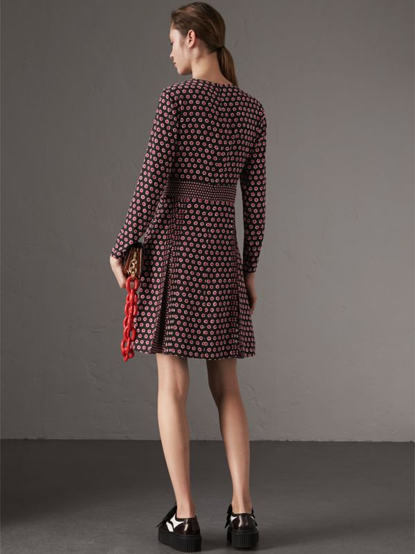 Long-sleeve Spot Print Silk Dress in Parade Red - Women   Burberry - cell image 2