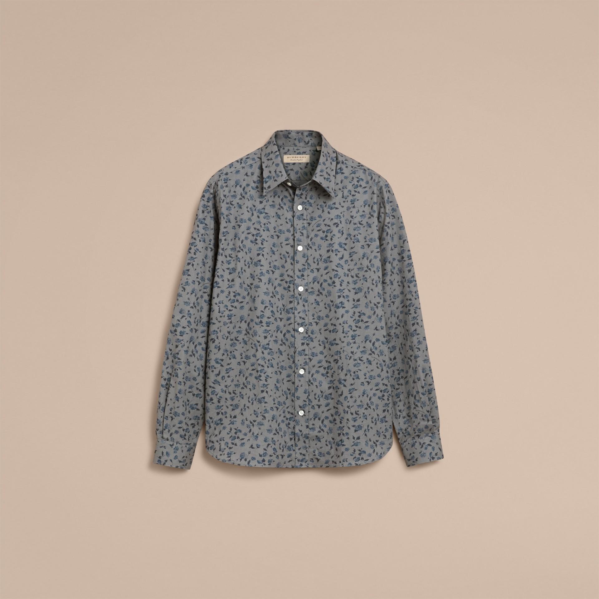 Floral Print Cotton Poplin Shirt - gallery image 4
