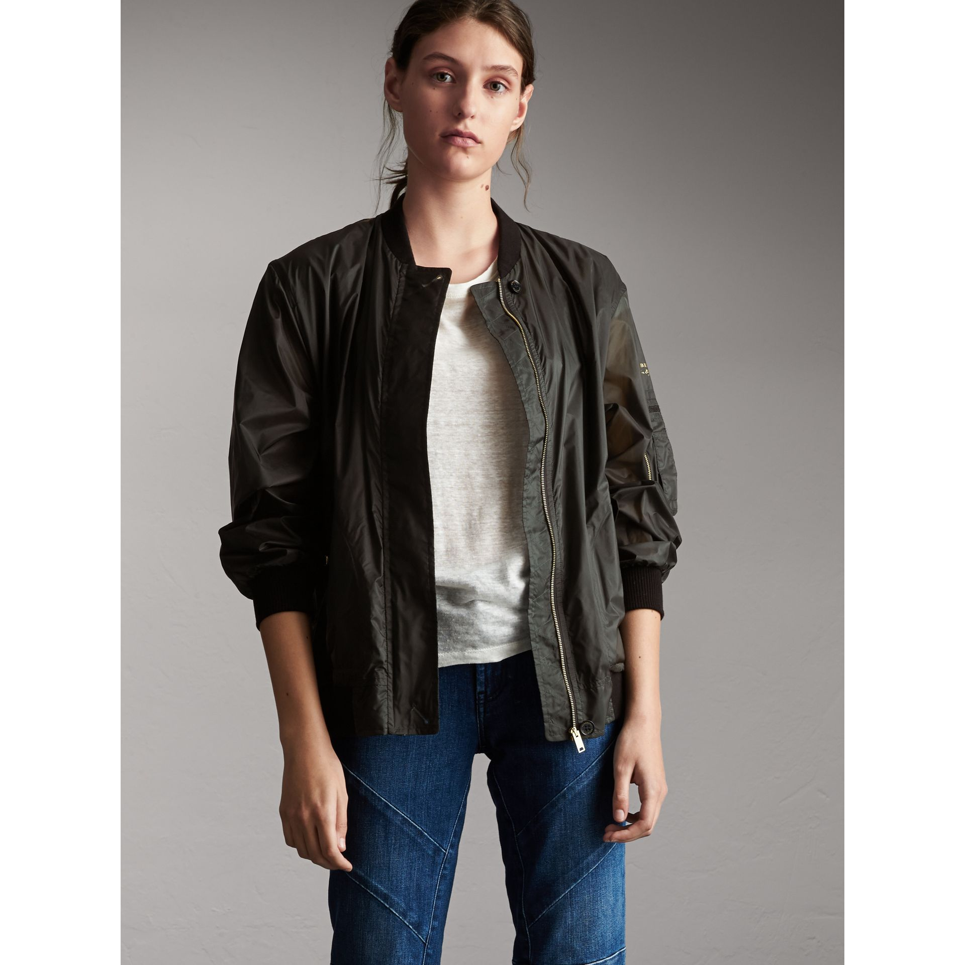 Lightweight Bomber Jacket in Vintage Green - Women | Burberry - gallery image 5