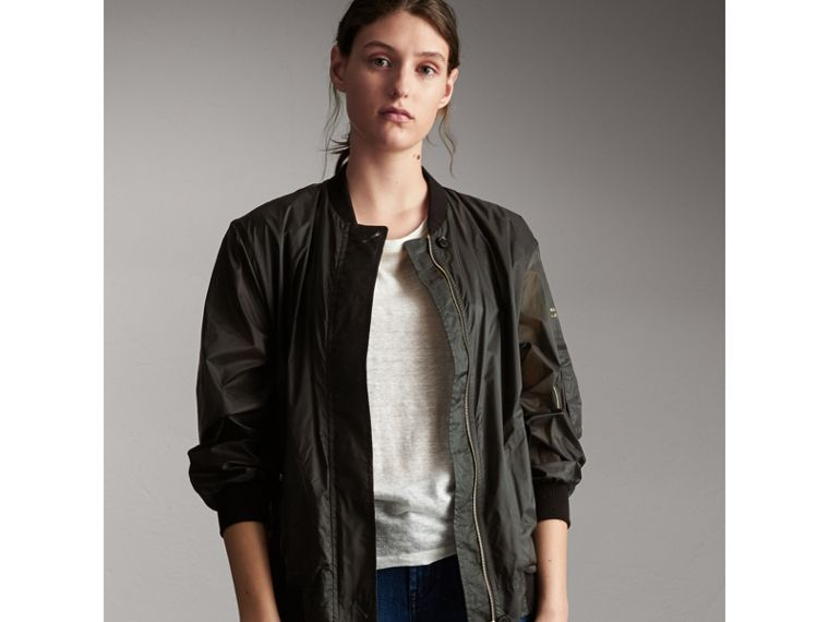 Lightweight Bomber Jacket in Vintage Green - Women | Burberry - cell image 4