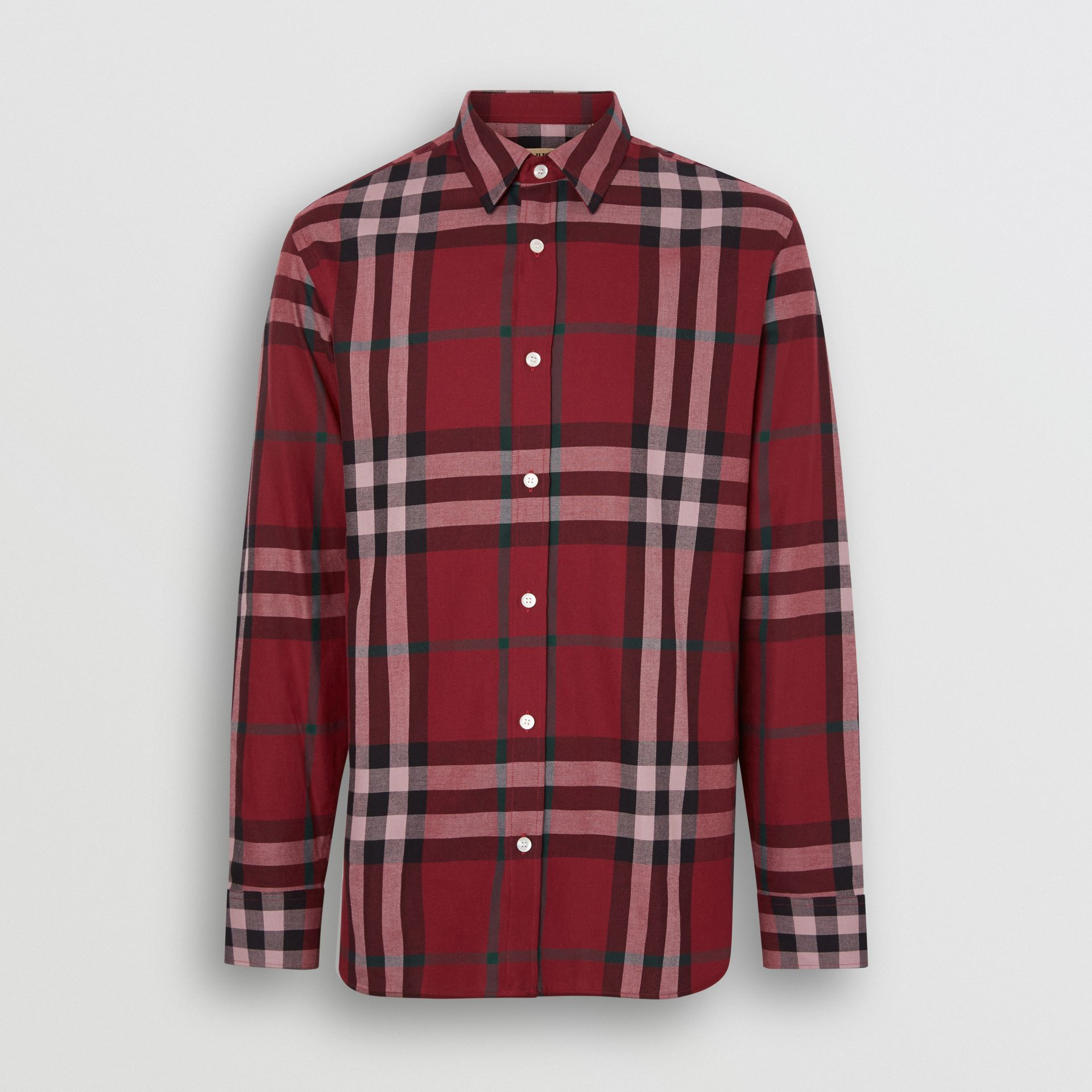 Check Cotton Flannel Shirt in Crimson - Men | Burberry Canada - gallery image 3
