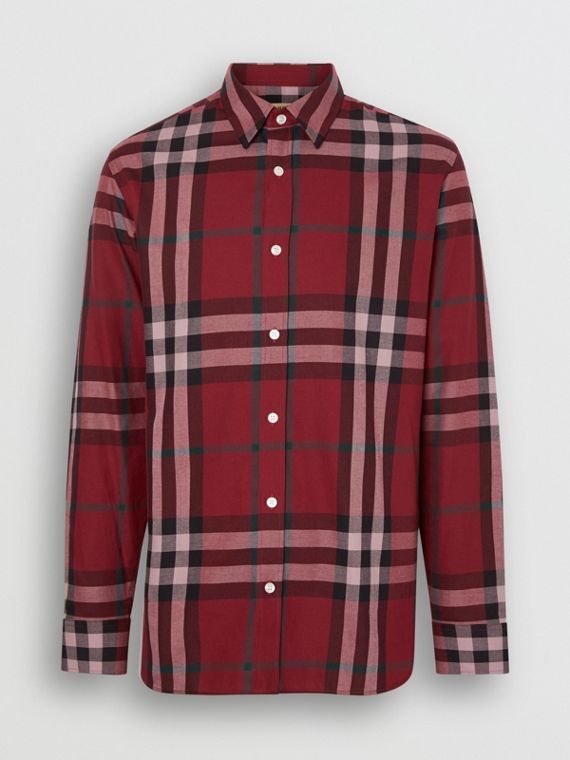 Check Cotton Flannel Shirt in Crimson