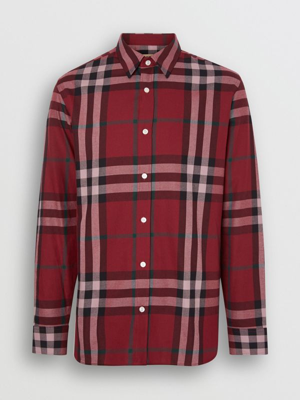 Check Cotton Flannel Shirt in Crimson - Men | Burberry - cell image 3