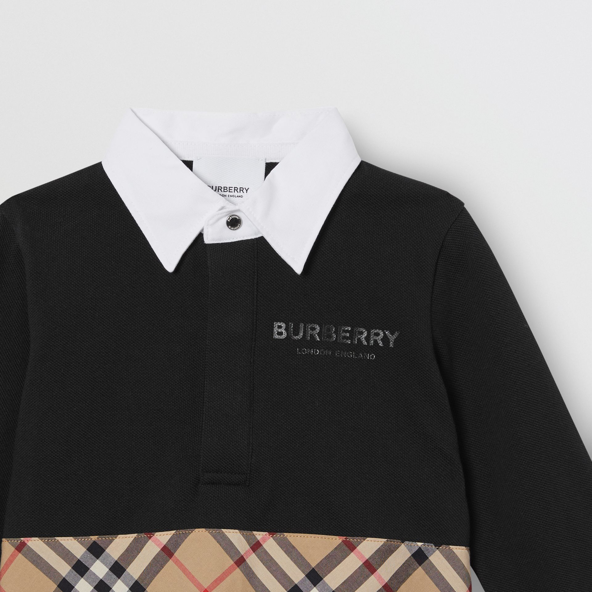 Long-sleeve Vintage Check Panel Cotton Polo Shirt in Black - Children | Burberry United Kingdom - gallery image 4