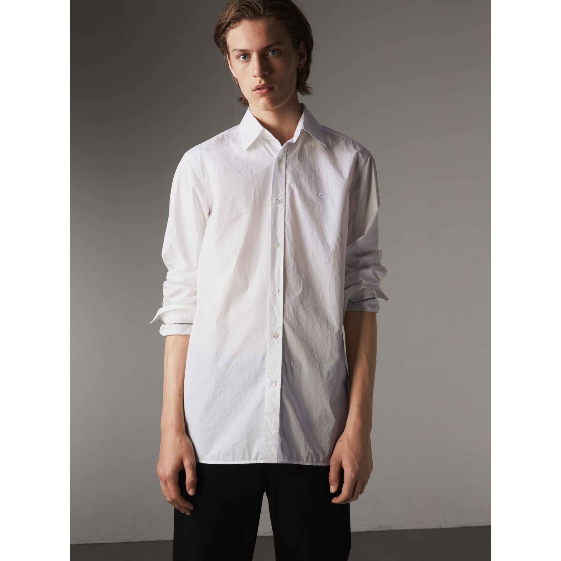 Japanese Cotton Poplin Shirt in White - Men | Burberry Canada - gallery image 1
