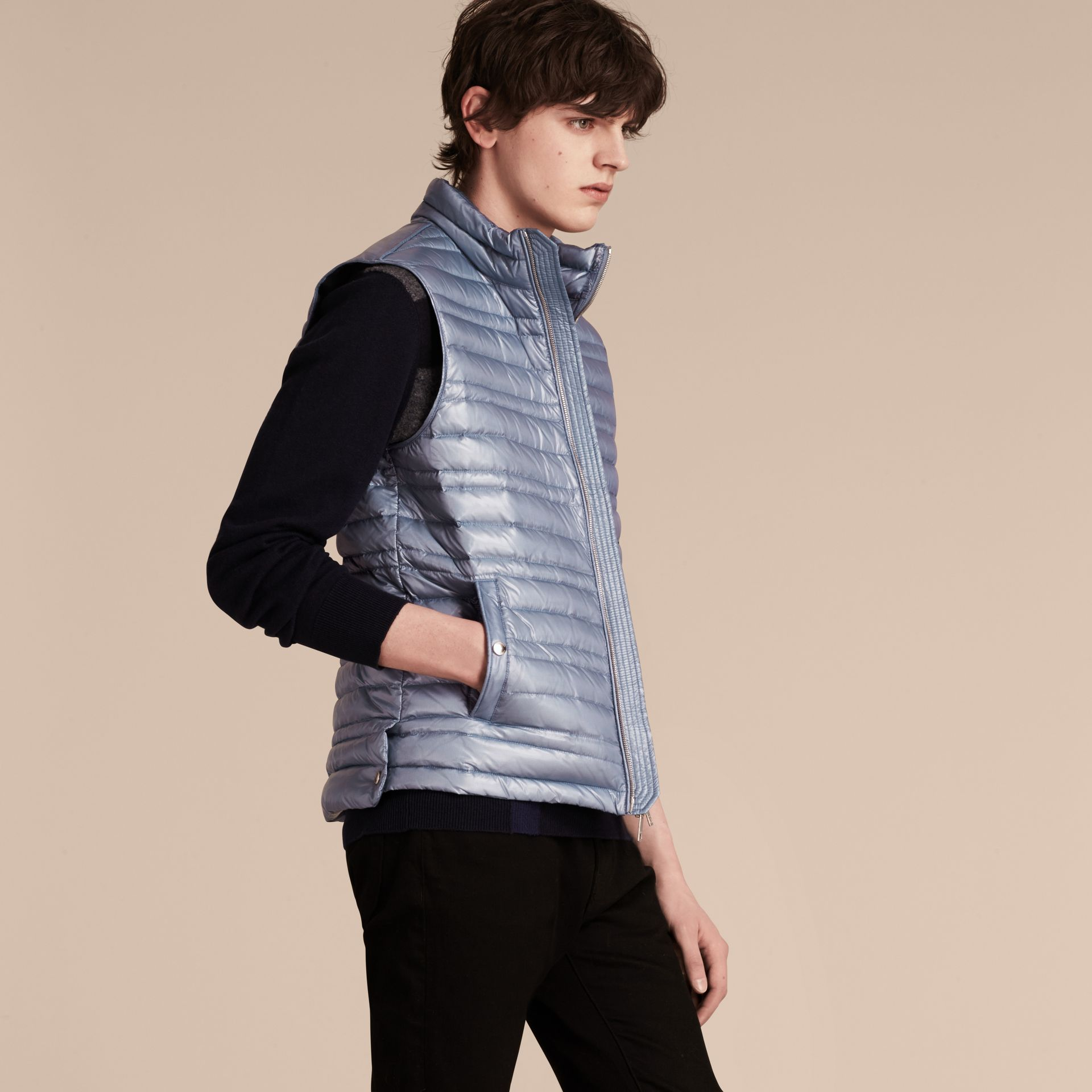 Pale blue Lightweight Down-filled Gilet Pale Blue - gallery image 6