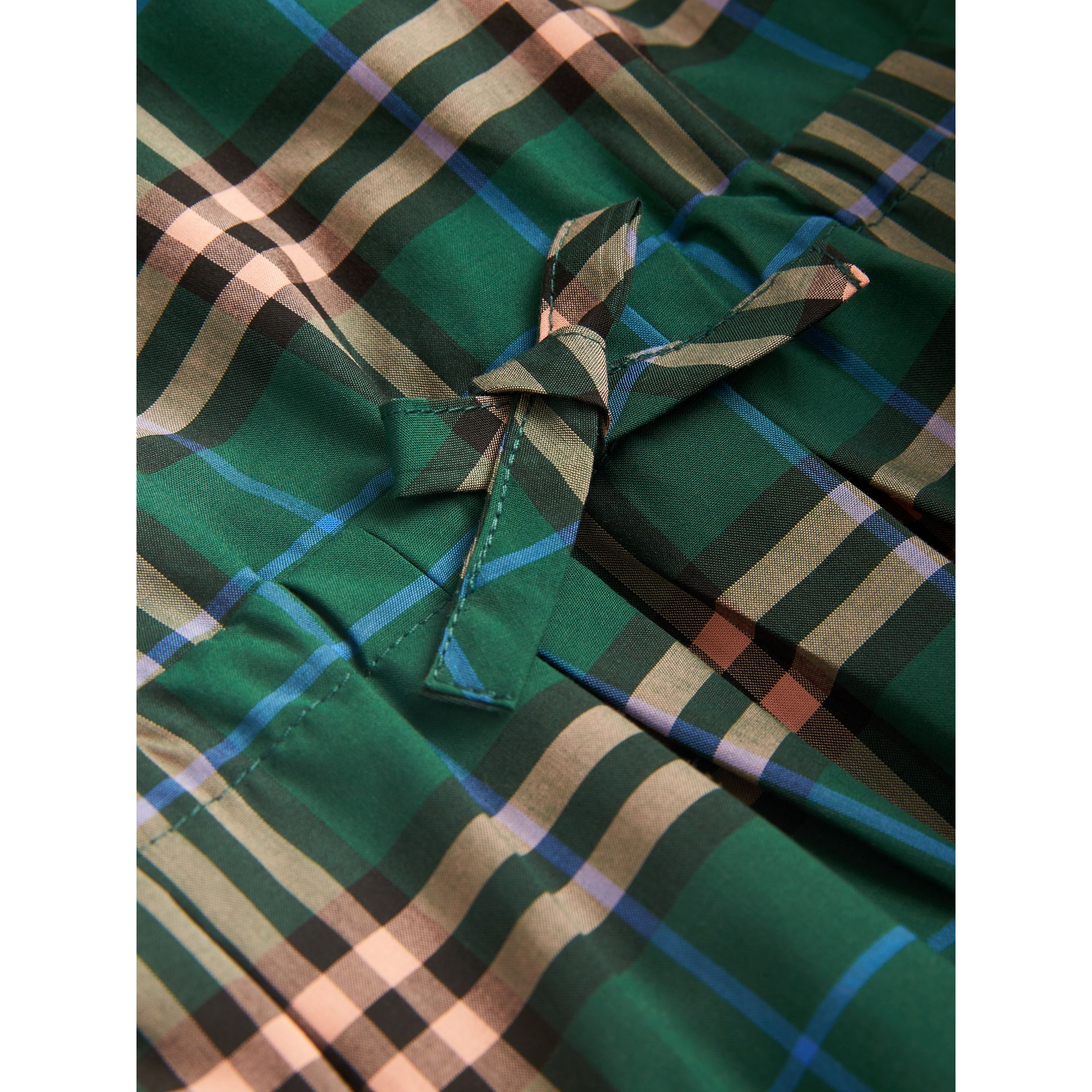 Check Cotton Drawcord Dress in Dark Forest Green | Burberry - gallery image 1