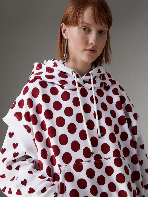 Spot Print Sleeveless Hoodie in Windsor Red - Women | Burberry - cell image 1