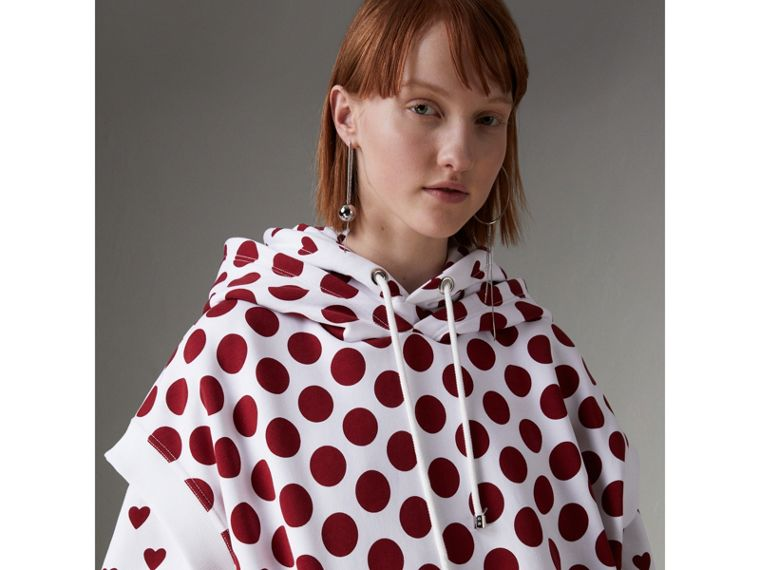 Spot Print Sleeveless Hoodie in Windsor Red - Women | Burberry United Kingdom - cell image 1