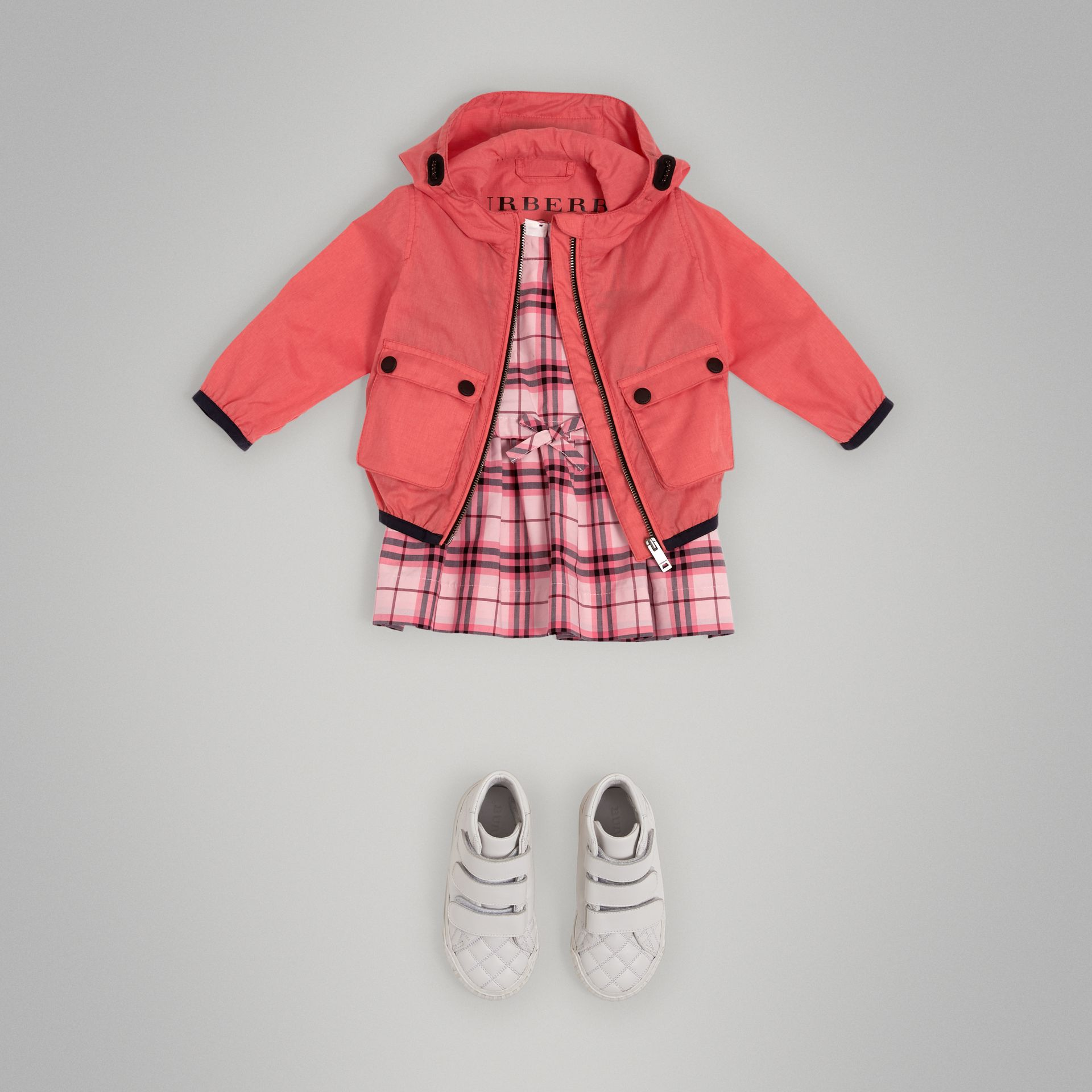 Showerproof Hooded Jacket in Bright Coral Pink - Children | Burberry - gallery image 2