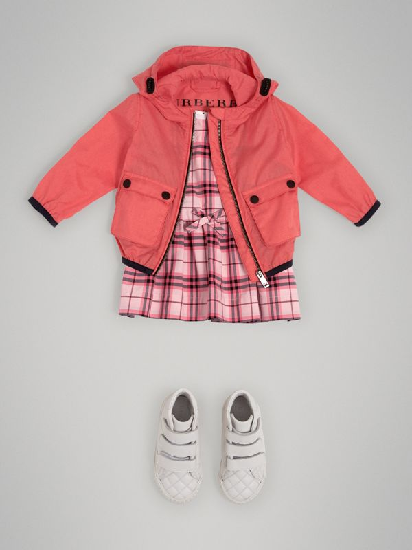 Showerproof Hooded Jacket in Bright Coral Pink - Children | Burberry - cell image 2