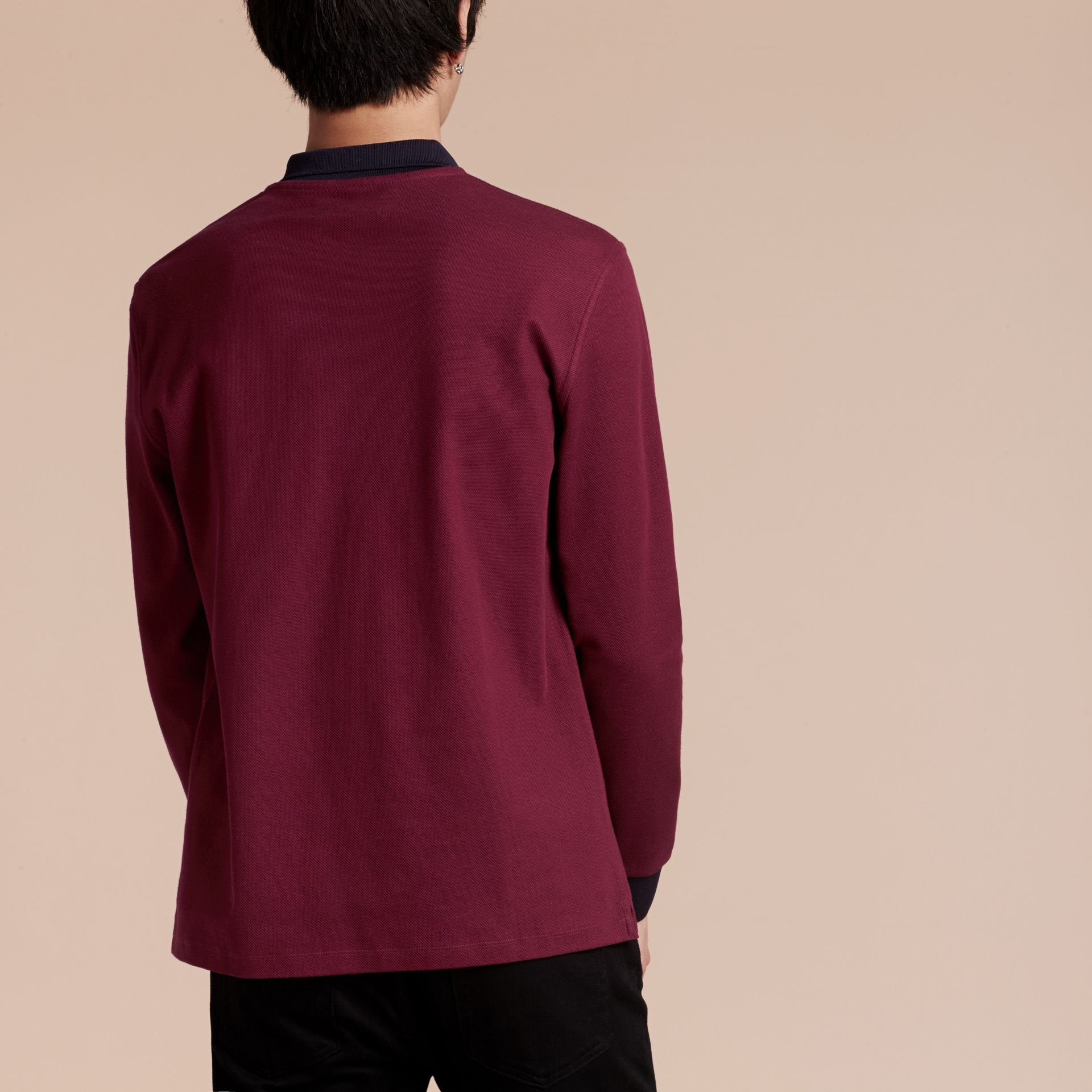 Boysenberry/navy Long-sleeved Cotton Piqué Polo Shirt Boysenberry/navy - gallery image 3
