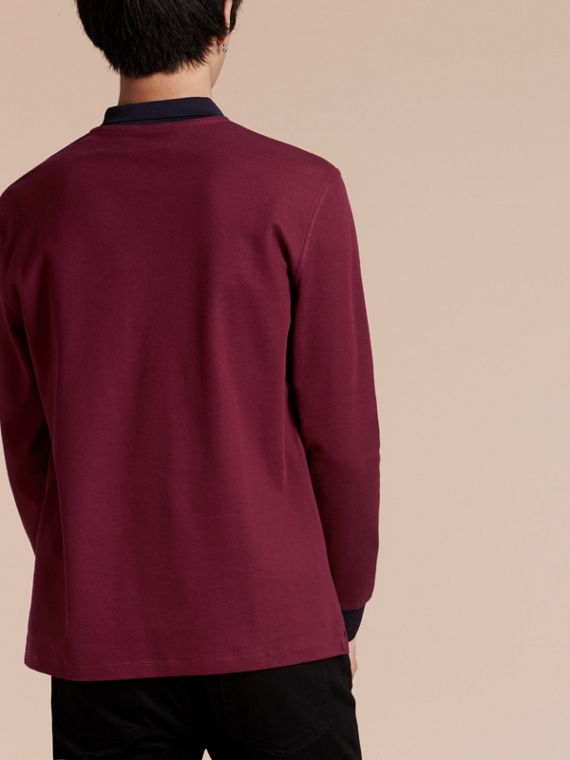 Boysenberry/navy Long-sleeved Cotton Piqué Polo Shirt Boysenberry/navy - cell image 2