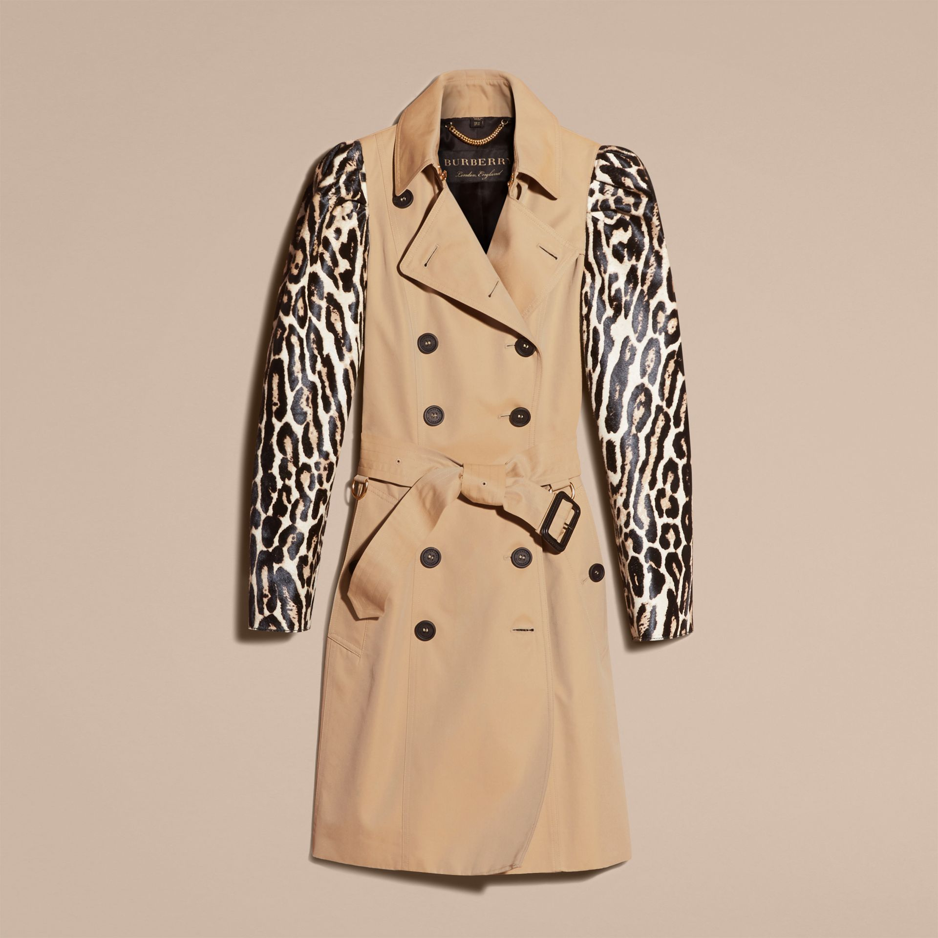 Honey Cotton Gabardine Trench Coat with Leopard-print Sleeves - gallery image 4