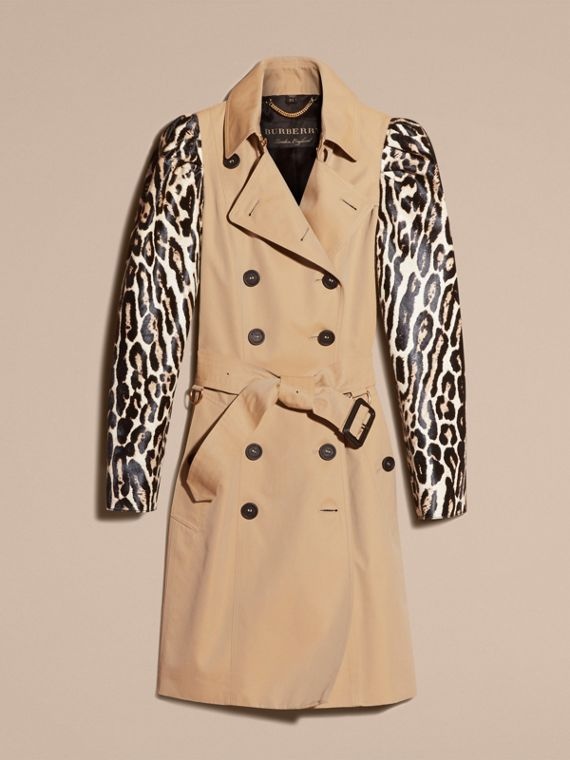 Honey Cotton Gabardine Trench Coat with Leopard-print Sleeves - cell image 3