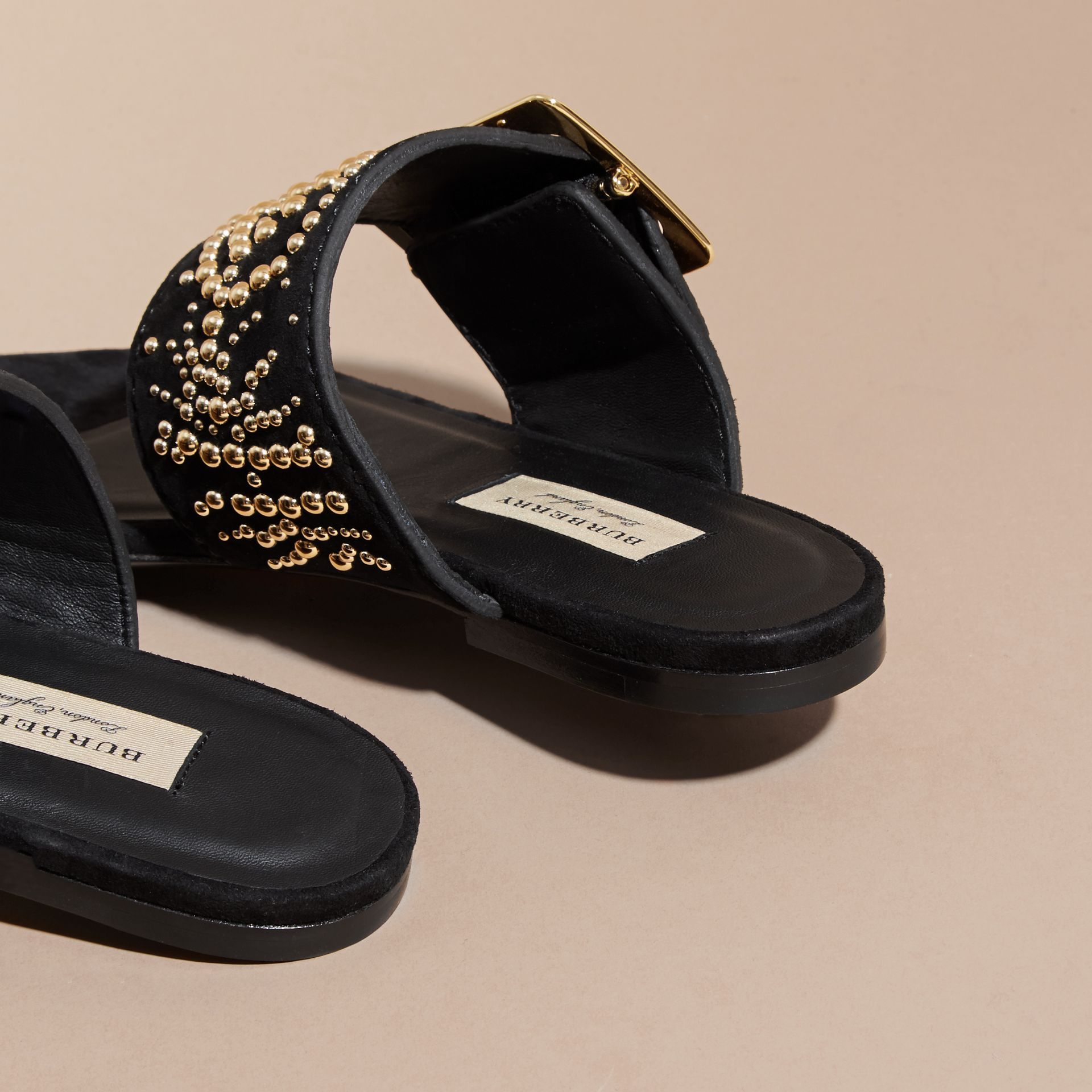 Studded Suede Sandals with Buckle Detail in Black - Women | Burberry - gallery image 5