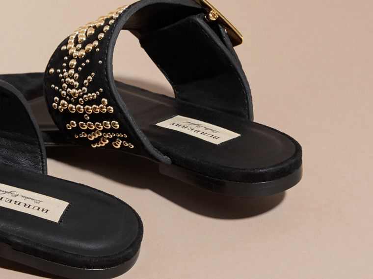 Studded Suede Sandals with Buckle Detail in Black - Women | Burberry - cell image 4