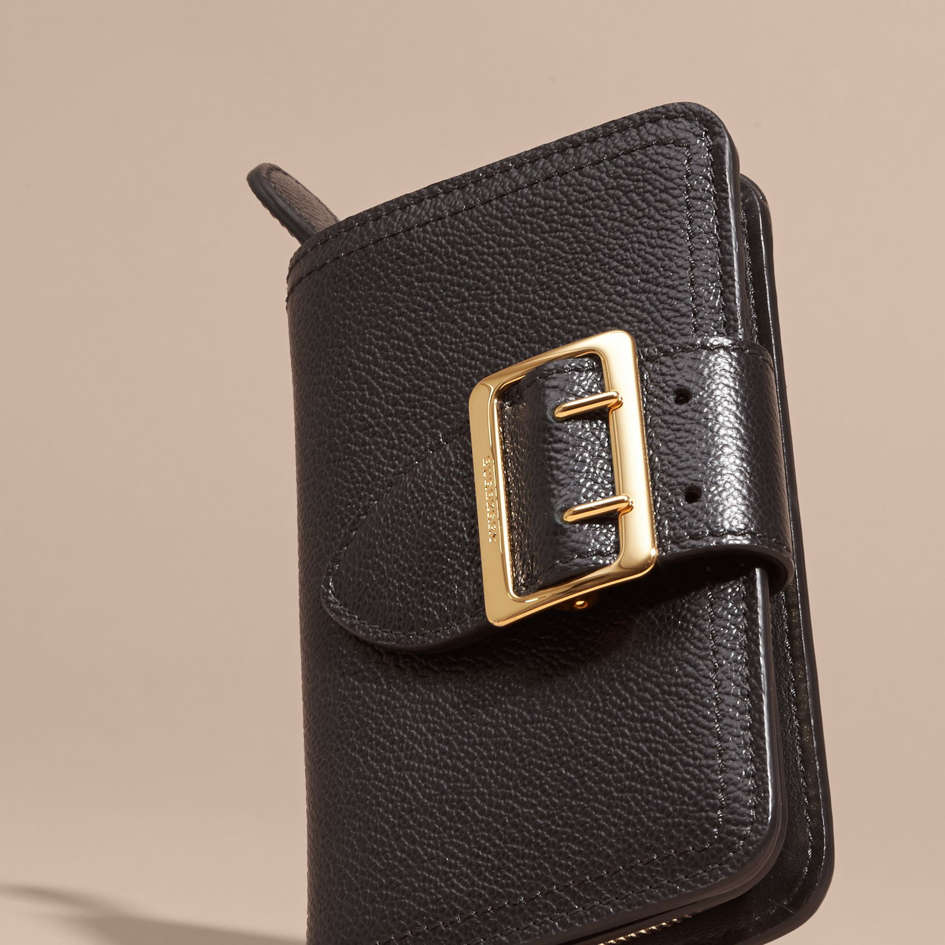 Buckle Detail Grainy Leather Wallet in Black - gallery image 3