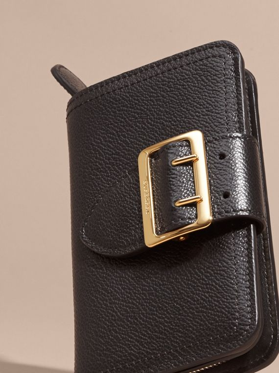 Black Buckle Detail Grainy Leather Wallet Black - cell image 2