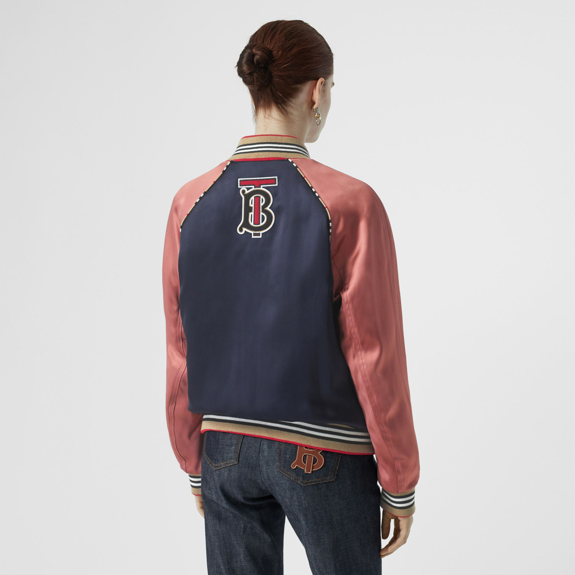 Icon Stripe Detail Monogram Motif Bomber Jacket in Navy/pink - Women | Burberry Australia - gallery image 2