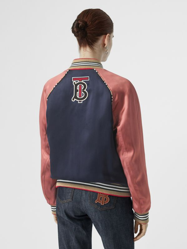 Icon Stripe Detail Monogram Motif Bomber Jacket in Navy/pink - Women | Burberry United Kingdom - cell image 2