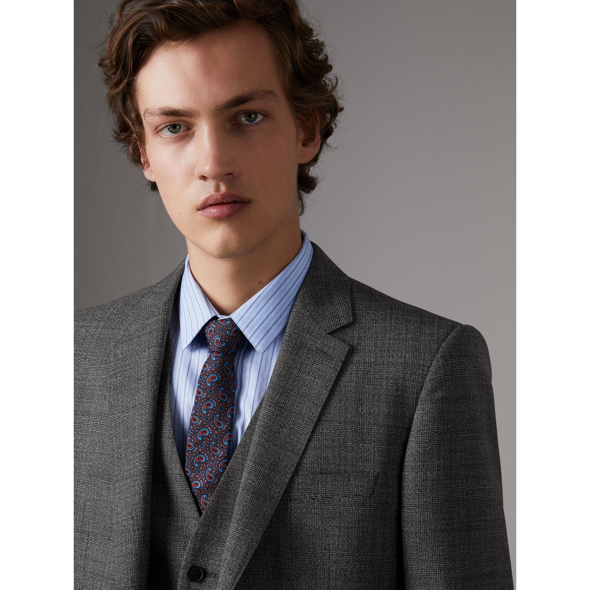 Slim Fit Wool Three-piece Suit in Dark Grey Melange - Men | Burberry Singapore - gallery image 2