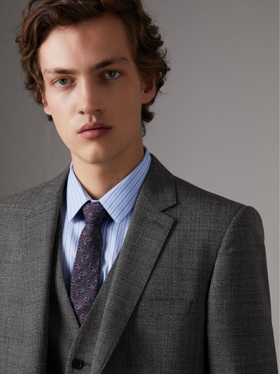 Slim Fit Wool Three-piece Suit in Dark Grey Melange - Men | Burberry - cell image 1