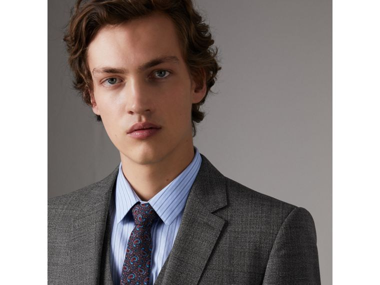 Slim Fit Wool Three-piece Suit in Dark Grey Melange - Men | Burberry Singapore - cell image 1