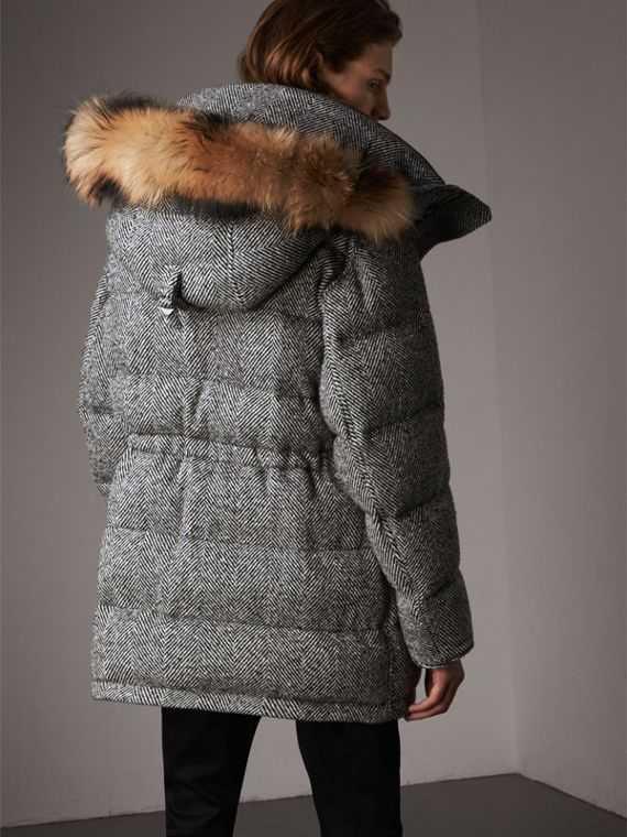 Detachable Fur Trim Hooded Down-filled Cashmere Parka in Natural White/black - Men | Burberry United Kingdom - cell image 2