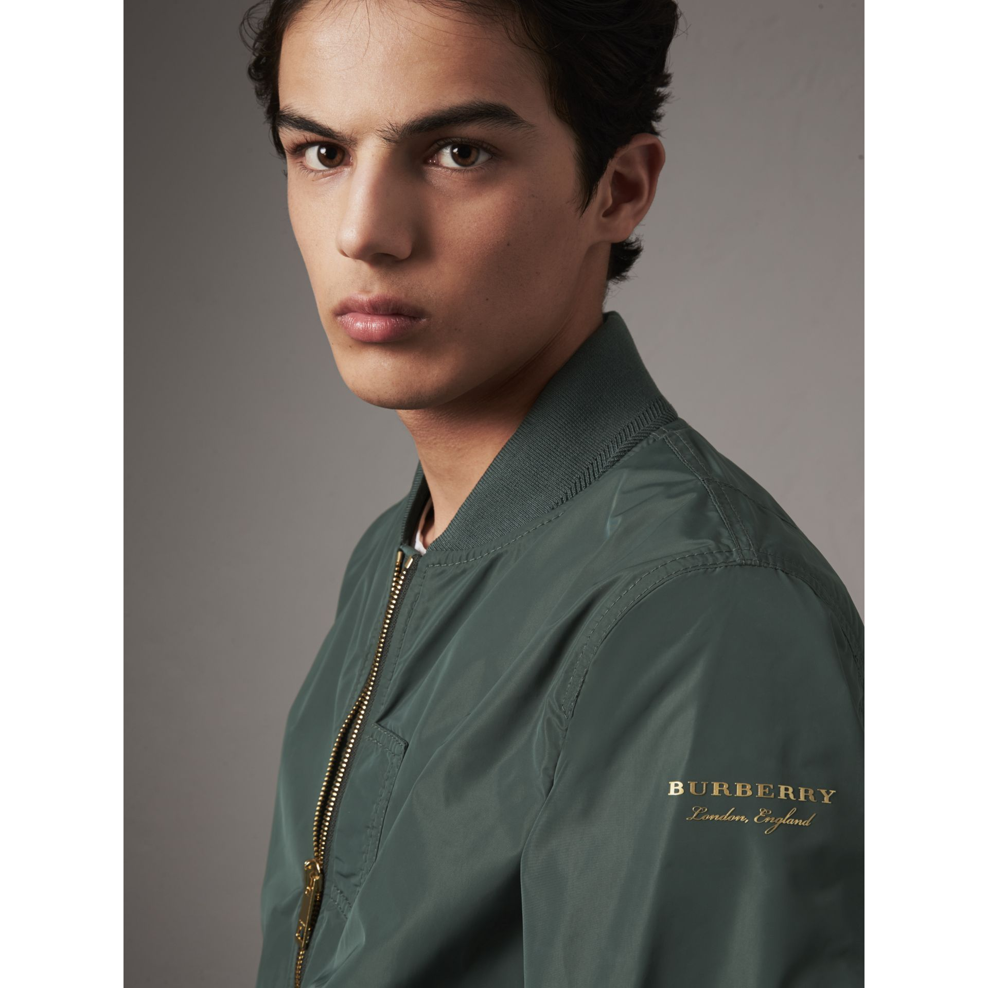 Shape-memory Taffeta Bomber Jacket in Smokey Green - Men | Burberry - gallery image 2