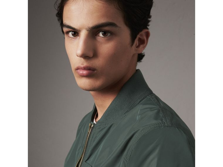 Shape-memory Taffeta Bomber Jacket in Smokey Green - Men | Burberry - cell image 1