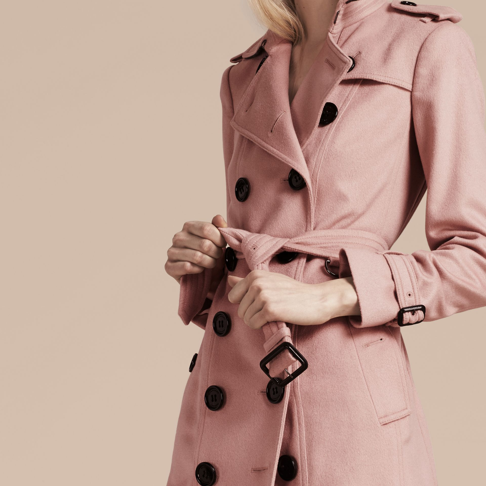 Sandringham Fit Cashmere Trench Coat Chalk Pink - gallery image 5
