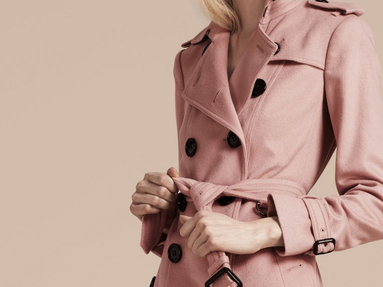 Sandringham Fit Cashmere Trench Coat Chalk Pink - cell image 4