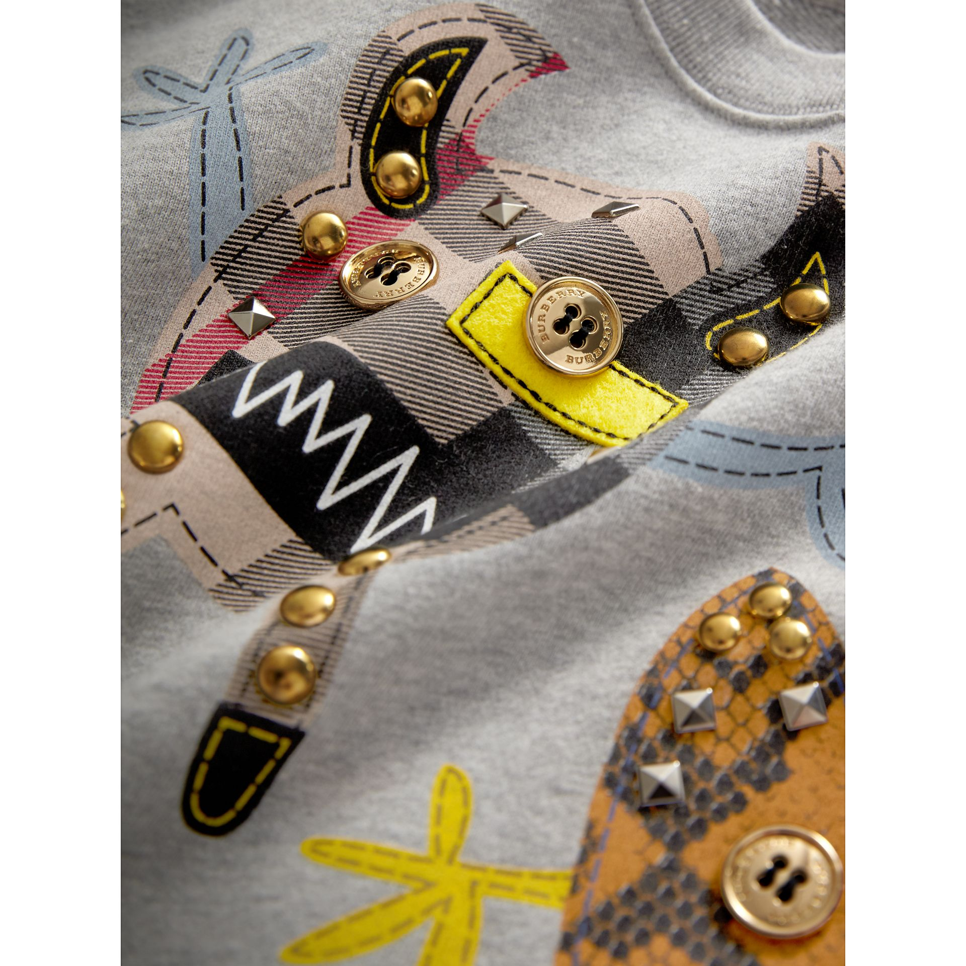 Creature Motif Cotton Sweatshirt in Grey Melange | Burberry - gallery image 1