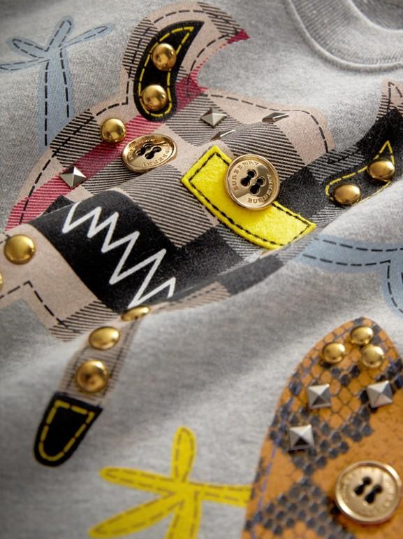 Creature Motif Cotton Sweatshirt in Grey Melange | Burberry - cell image 1