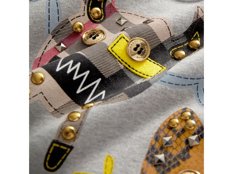 Creature Motif Cotton Sweatshirt in Grey Melange | Burberry - cell image 1