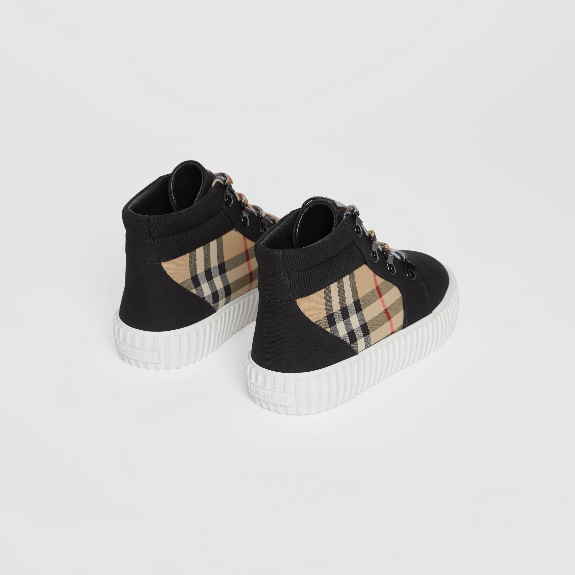 Vintage Check Detail High-top Sneakers in Archive Beige/black - Children | Burberry Australia - gallery image 2