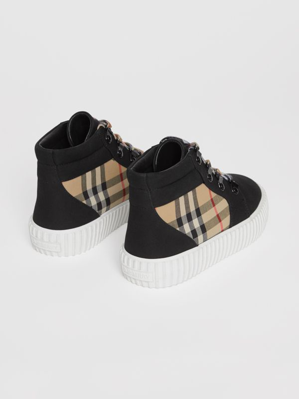 Vintage Check Detail High-top Sneakers in Archive Beige/black - Children | Burberry Australia - cell image 2