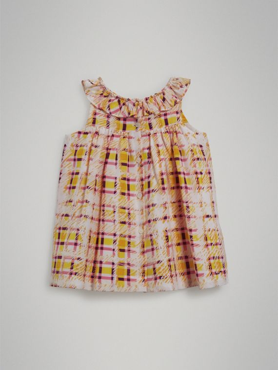 Gathered Scribble Check Print Silk Dress in Amber Yellow | Burberry - cell image 3