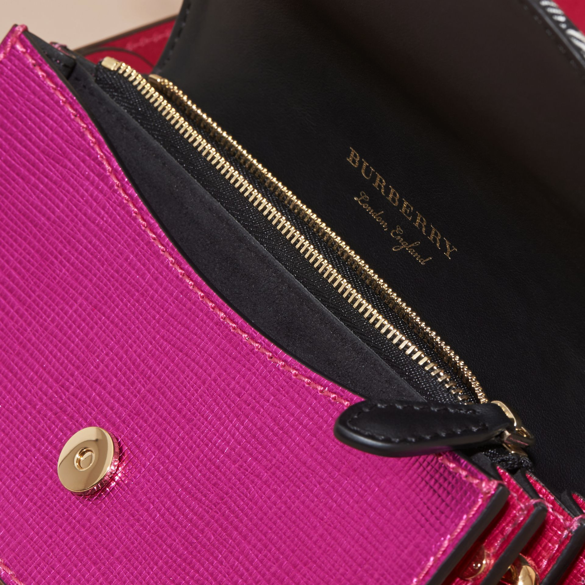 The Small Buckle Bag in House Check and Leather in Bright Pink - gallery image 6