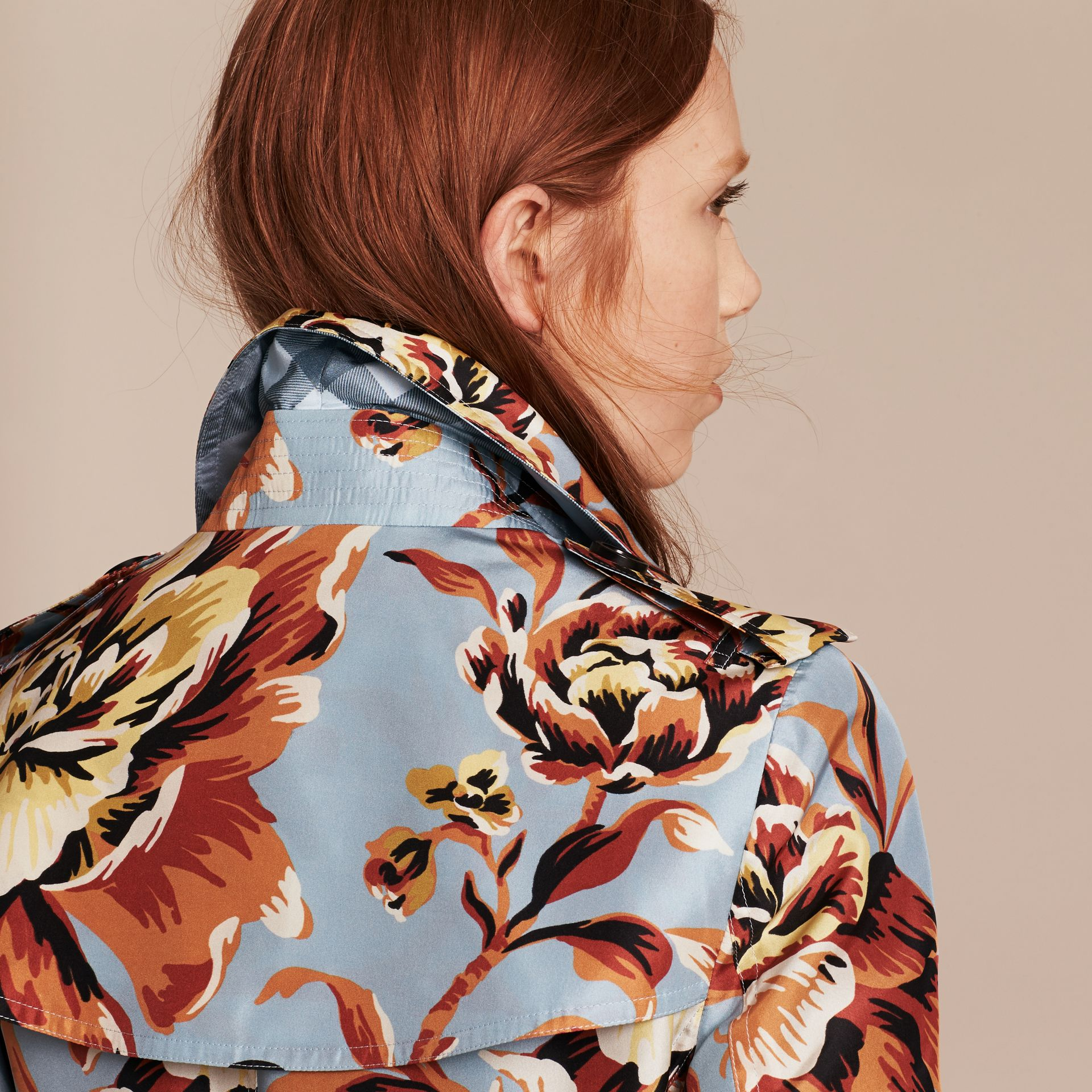 Vibrant orange Peony Rose Print Silk Trench Coat - gallery image 6