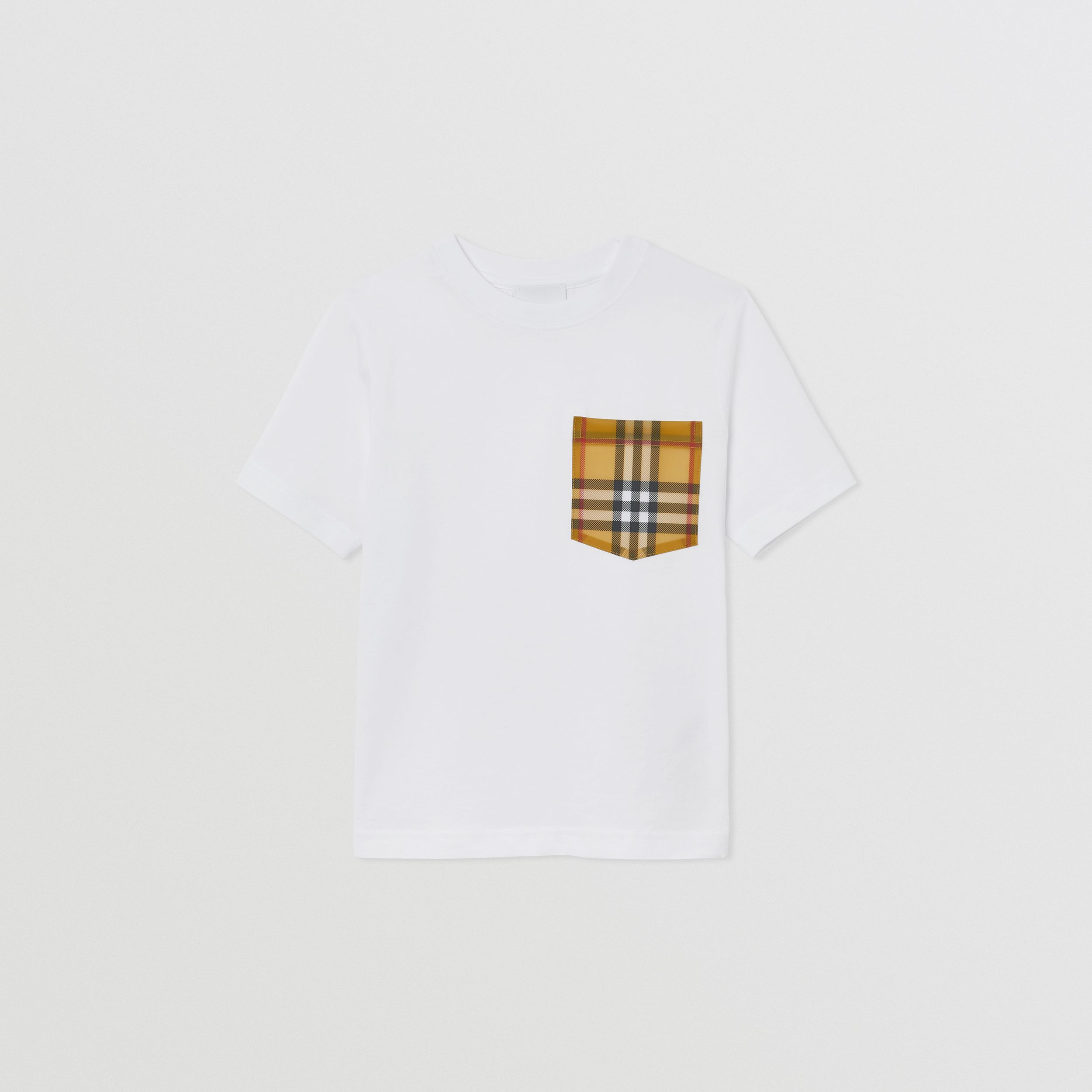 Vintage Check Pocket Cotton T-shirt in White | Burberry - 1