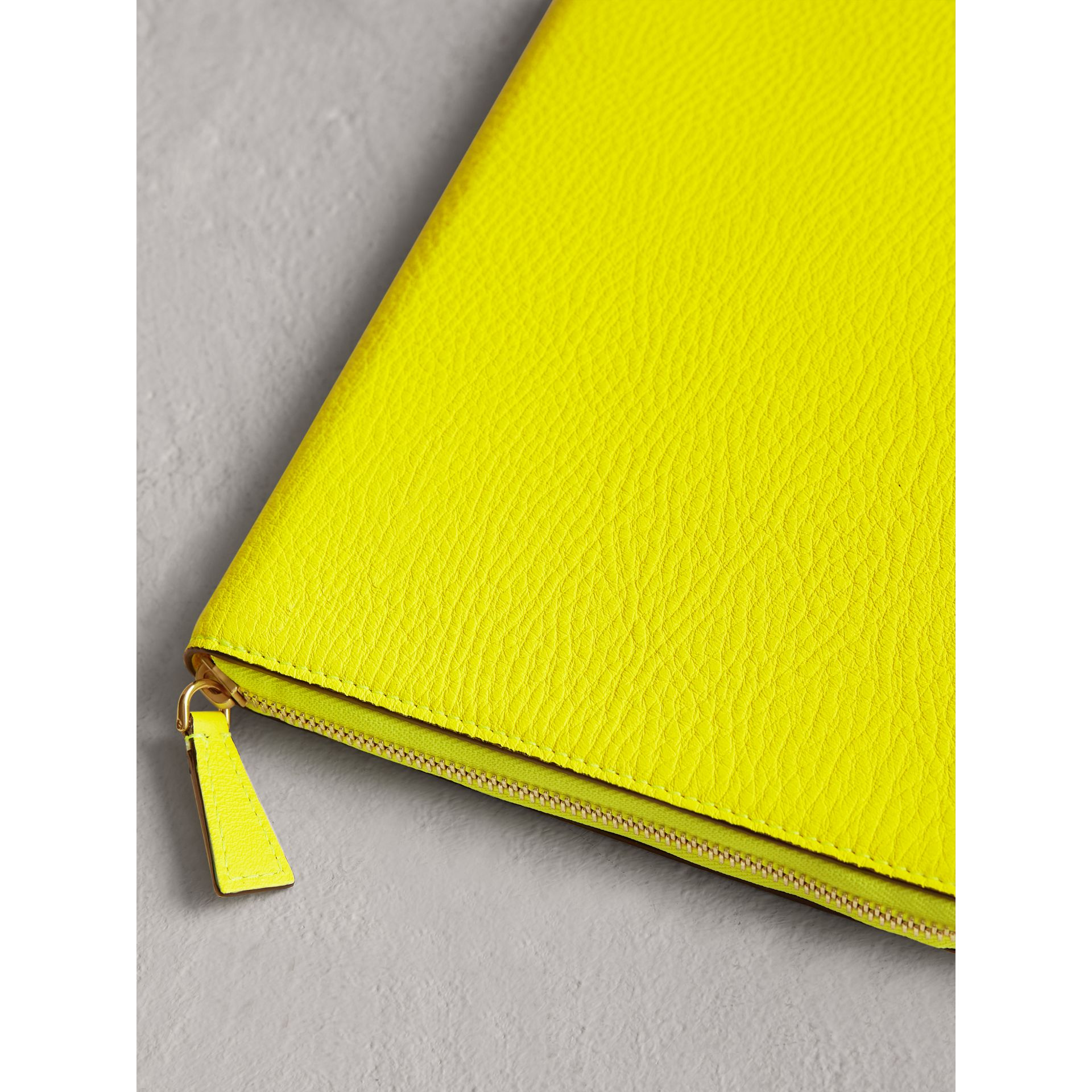 Embossed Grainy Leather Ziparound A5 Notebook Case in Bright Yellow | Burberry - gallery image 2