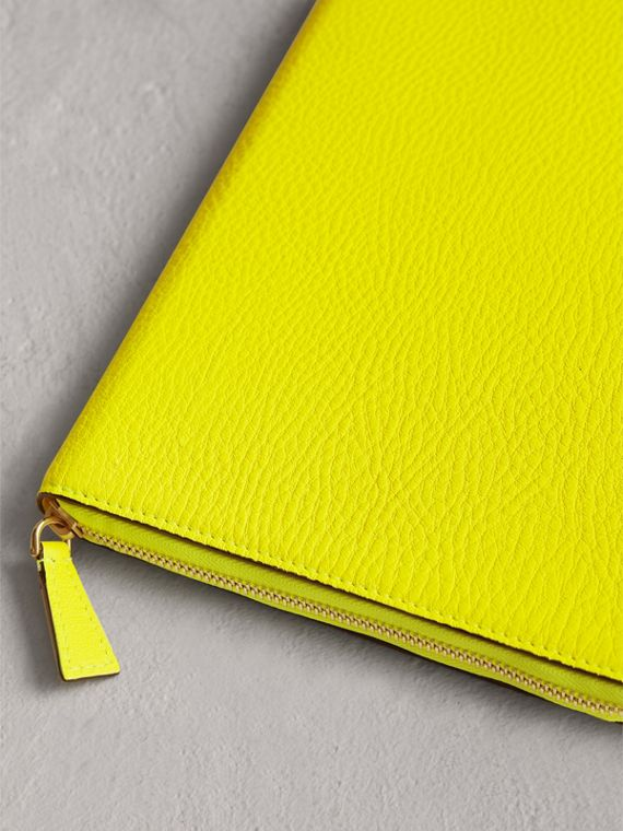 Embossed Grainy Leather Ziparound A5 Notebook Case in Bright Yellow | Burberry - cell image 2