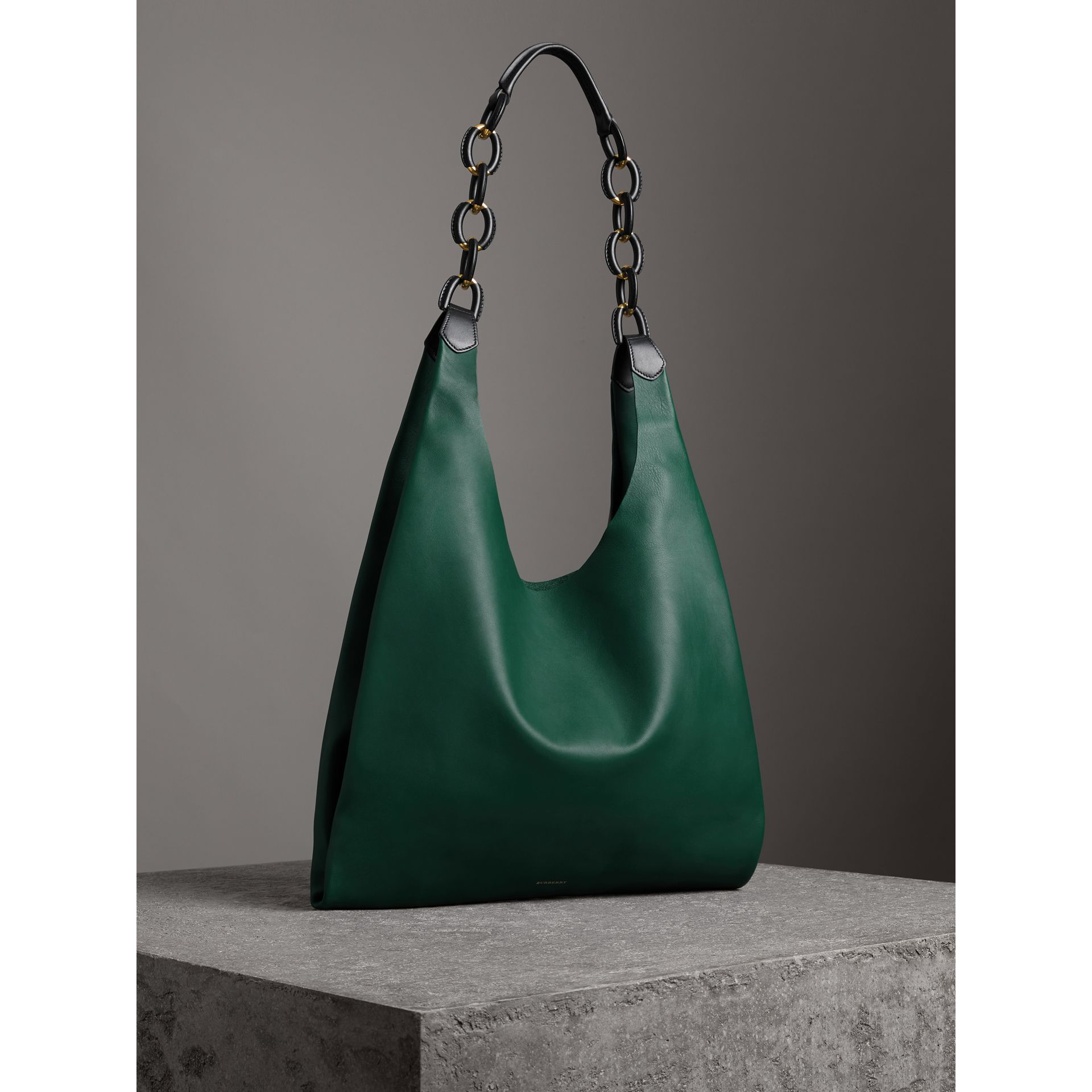 Medium Two-tone Leather Shopper in Racing Green - Women | Burberry - gallery image 6