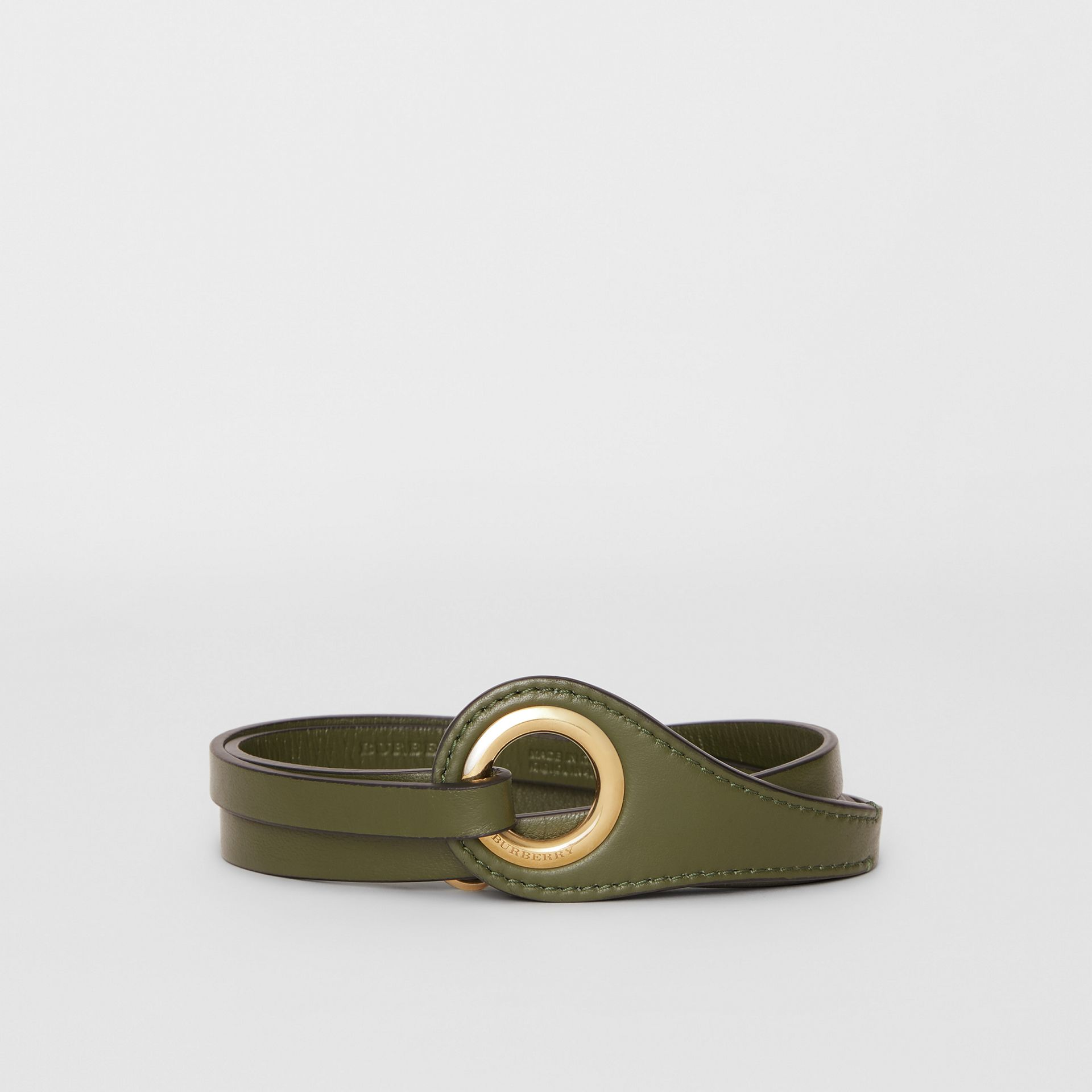 Grommet Detail Lambskin Belt in Dark Olive - Women | Burberry - gallery image 0