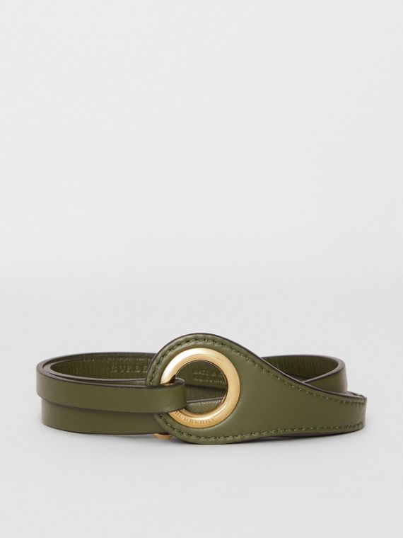 Grommet Detail Lambskin Belt in Dark Olive