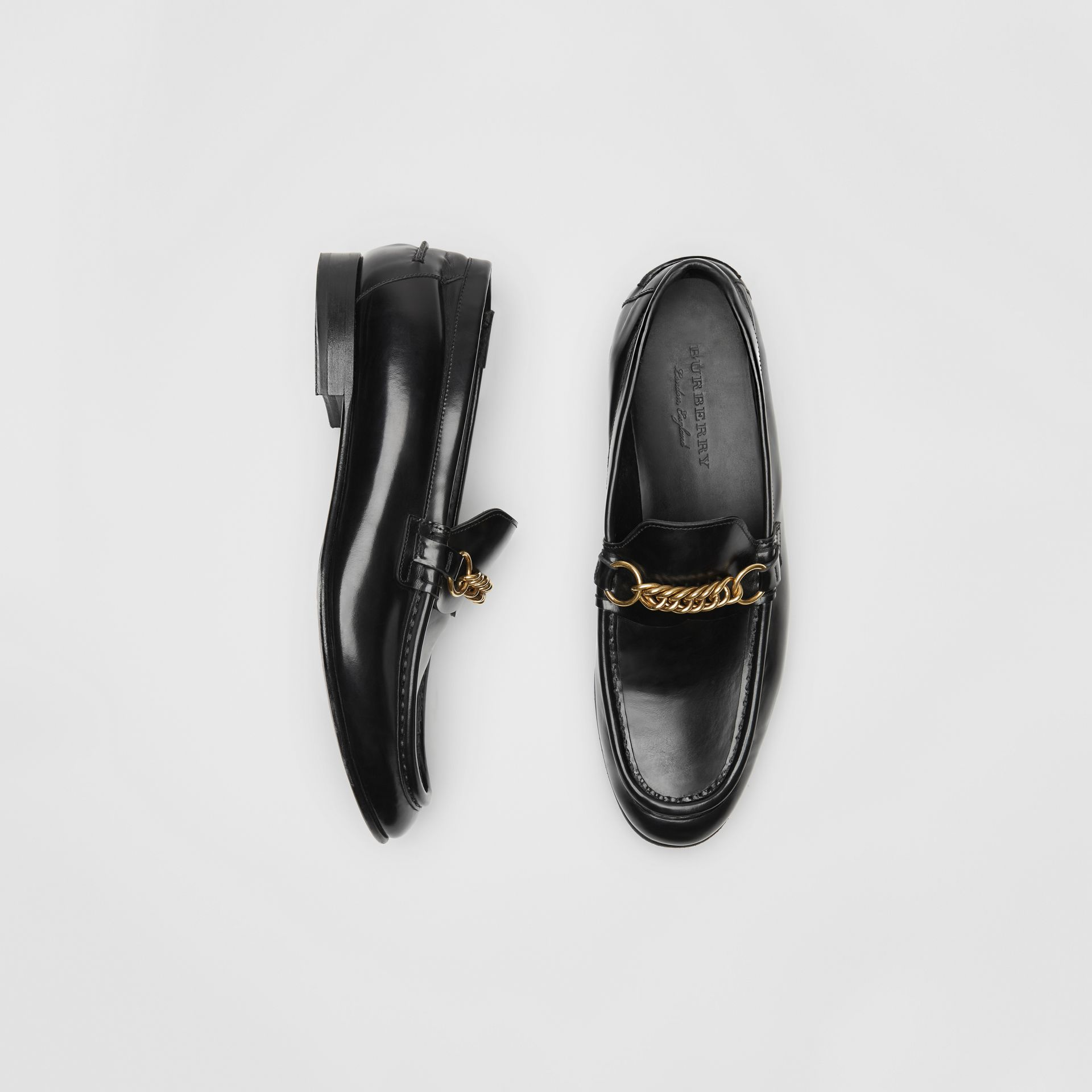 The Leather Link Loafer in Black - Men | Burberry - gallery image 0