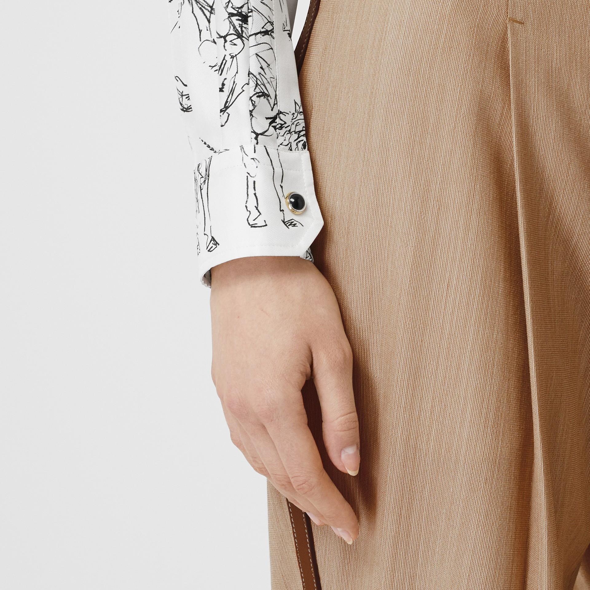Camisa en sarga de seda con estampado de gorilas y unicornios (Blanco / Negro) - Mujer | Burberry - imagen de la galería 4