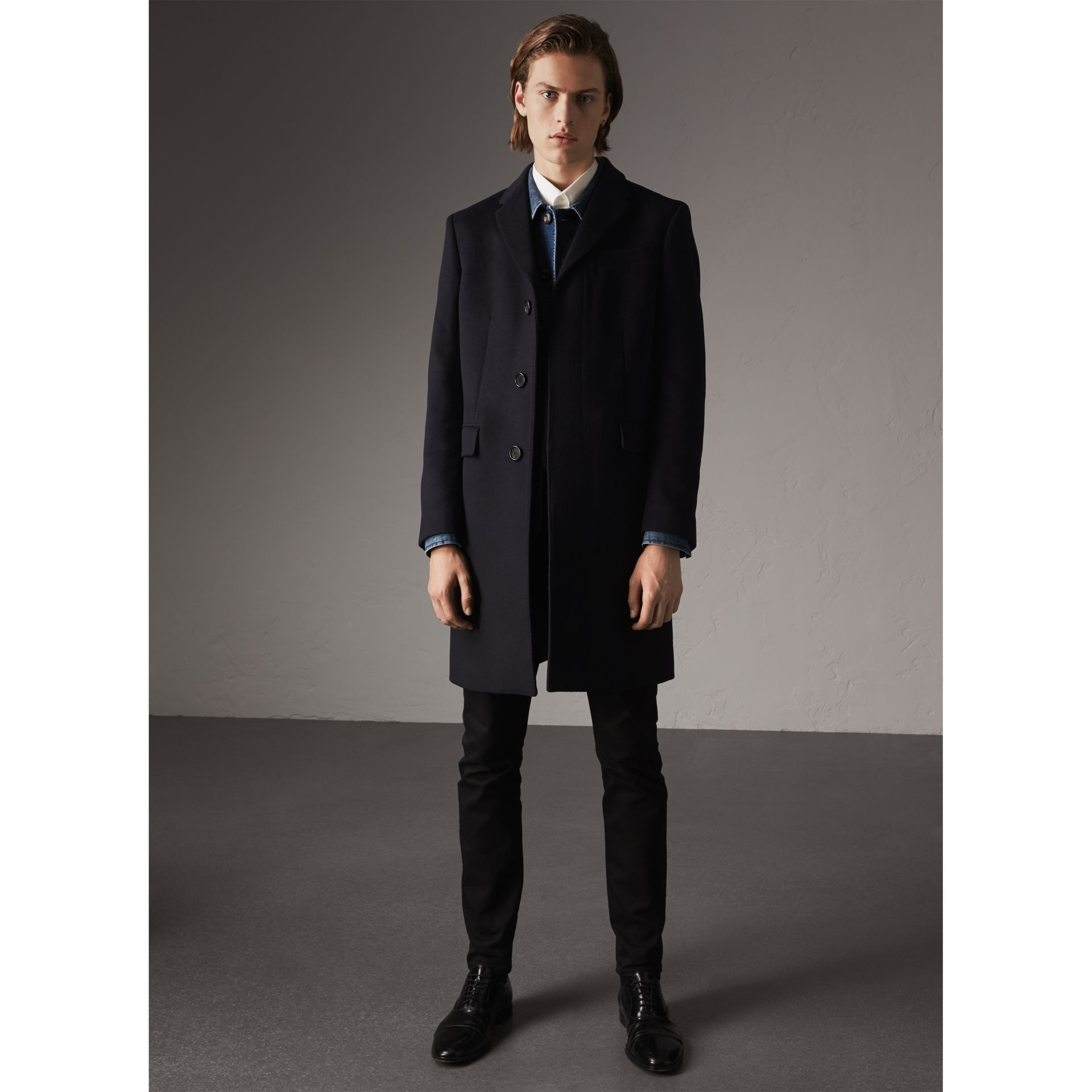 Wool Cashmere Tailored Coat in Navy - Men | Burberry - gallery image 6